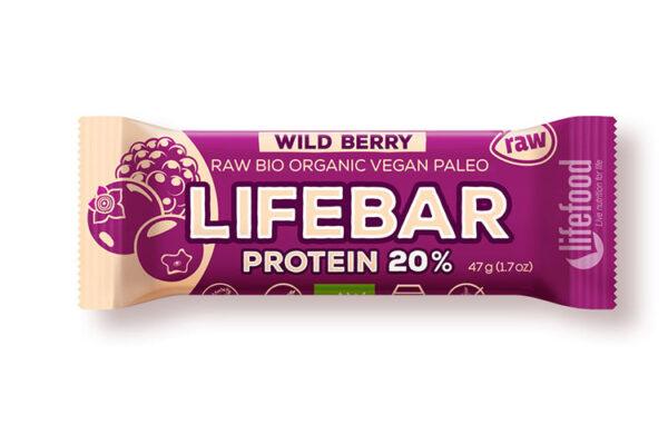 Lifebar Protein WILD BERRY raw bio vegfit 1